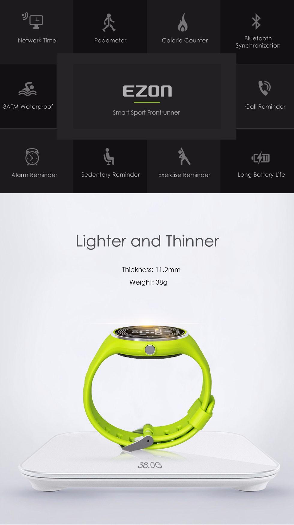 EZON sport utility носимых интеллектуальных мужчин и женщин смотреть водонепроницаемый электронный шагомер работает 24 часа инструкции Смотреть