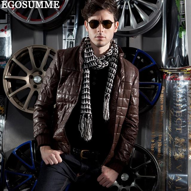 Leather hooded jacket men coat men's coats and coats black D040