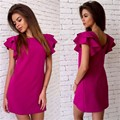 2017 Fashion Womens Summer Style Butterfly Sleeve Casual Dress Red Sexy Backless Beach Mini Party Club