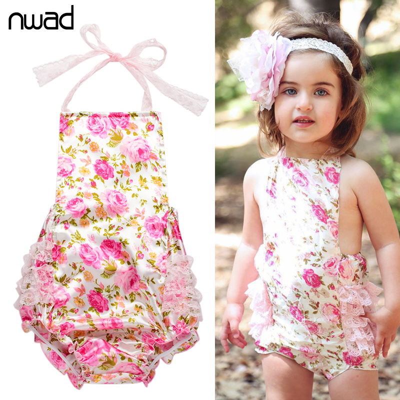 Flower Baby Girl Romper 2016 Summer Newborn Clothes Lace Toddler Baby Jumpsuit Ruffled Baby Kids Rompers Photo Props FF114(China (Mainland))