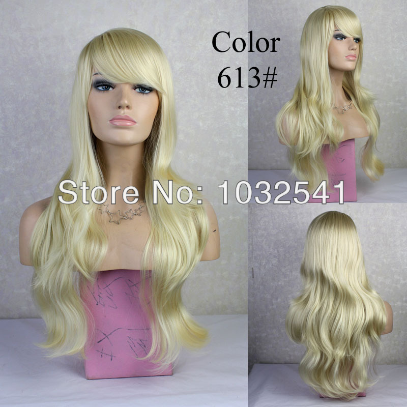 Sexy! Wonderful New Long wavy Pale Blonde skin top Curly Wig Hair 613# curly wigs free shipping<br><br>Aliexpress