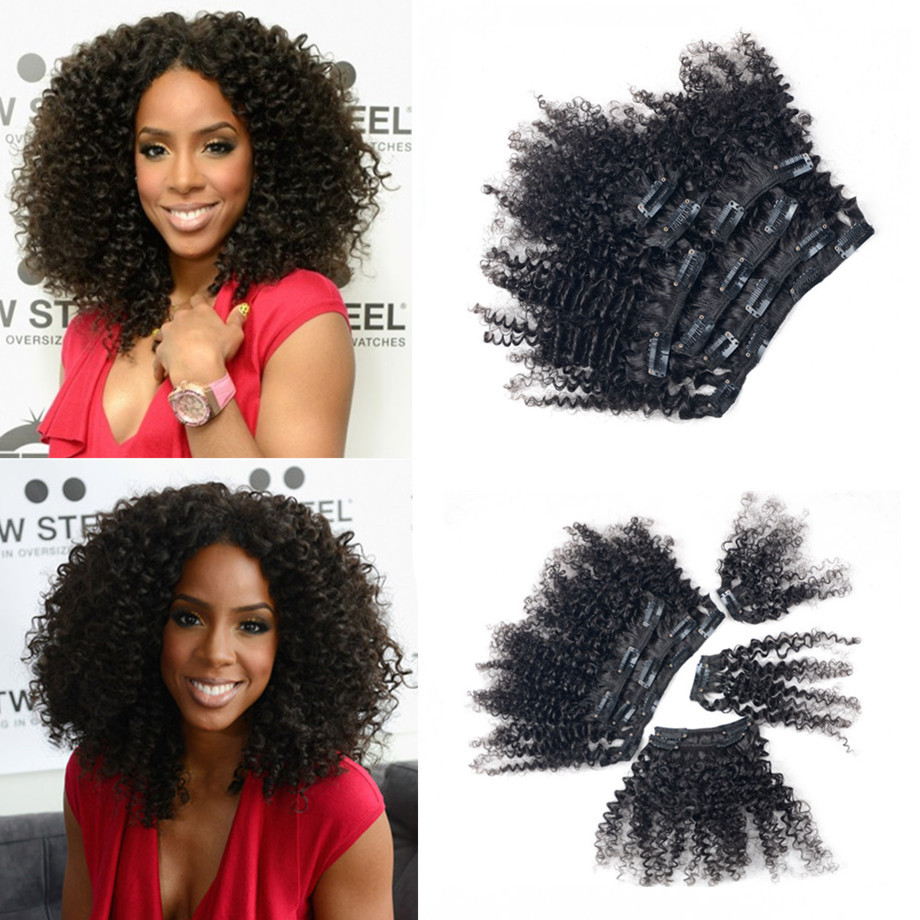 8-26 Brazilian Virgin Hair Full Head Kinky Curly Clip in Virgin Human Hair Extension Natural Black 2pcs Lot<br><br>Aliexpress