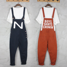 2016 plus size jumpsuits and rompers for women men korean nice jean fashion denim work clothes pants casual work pants trousers