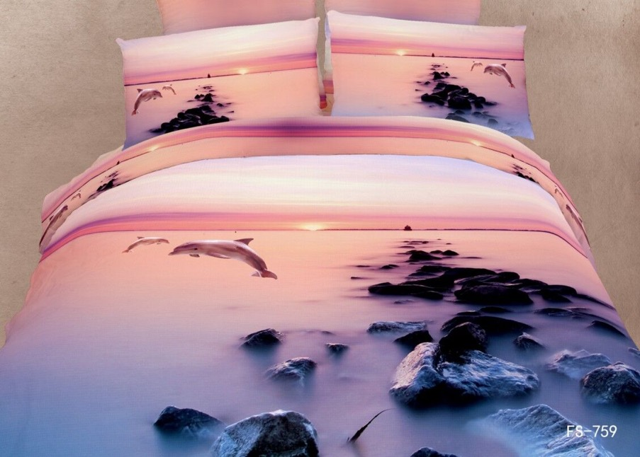 3 7pcs 800t 100 cotton scenery beautiful sunrise for Housse de couette king size