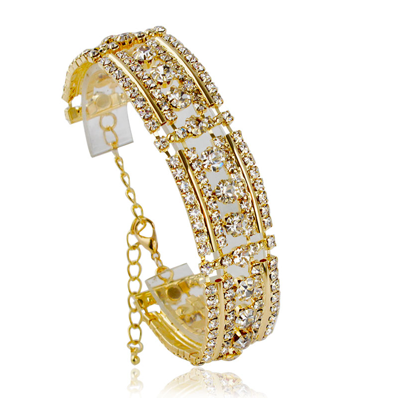 2016 Romantic Crystal Bracelet Zircon Gem Full of Crystal Bling Bling Gold Silver Plated Wedding Party Gift Bracelet for Women(China (Mainland))