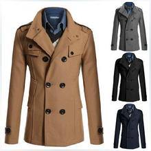 2014 Men's Winter Coat Double-breasted Long Casual Windbreaker Jackets Lapel 3 Color Outdoor Woolen Blends Clothing Man