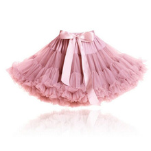 Buenos Ninos Girls Fluffy 2-18 Years Chiffon Pettiskirt Solid Colors tutu skirts girl Dance Skirt Christmas Tulle Petticoat(China (Mainland))
