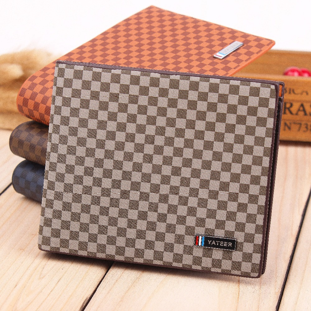 New Classical Men's Genuine Leather Wallet High Quality Collector fashion Short Design Plaid Wallet Purse for men free shipping(China (Mainland))