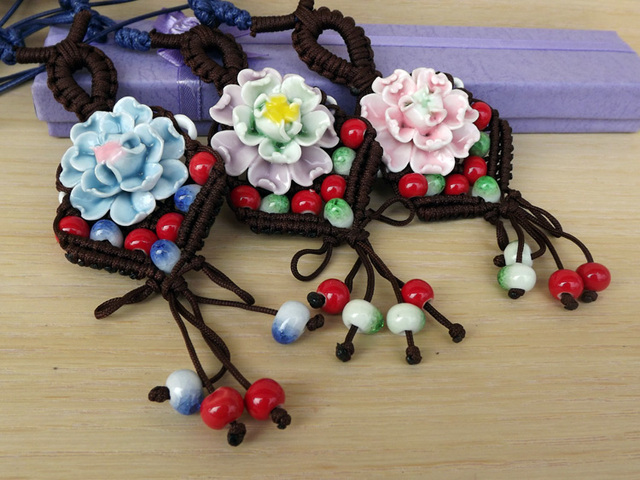Jingdezhen ceramic necklace porcelain flowers porcelain beads pendant chinese style