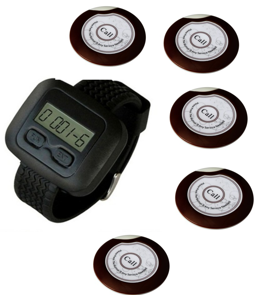 Wholesale cheap waiter paging system,restaurant wireless system,5pcs super thin flying saucer pager bell+1pc watch/wrist pager