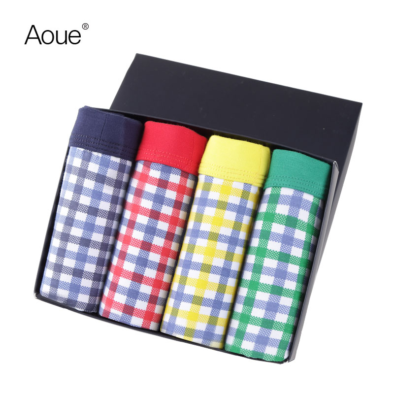 Aoue Sexy Mens Plaid Print Brand Boxes pack Underwear 4PCS lot Cueca Boxers Masculina shorts underpants Male Panties(China (Mainland))