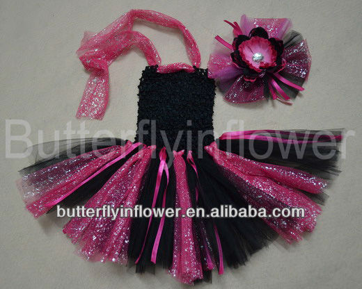 Free shipping Wholesale in summer 1layer twilight crochet tutu dress & matching hair clip set glitter tulle tutu for girls(China (Mainland))