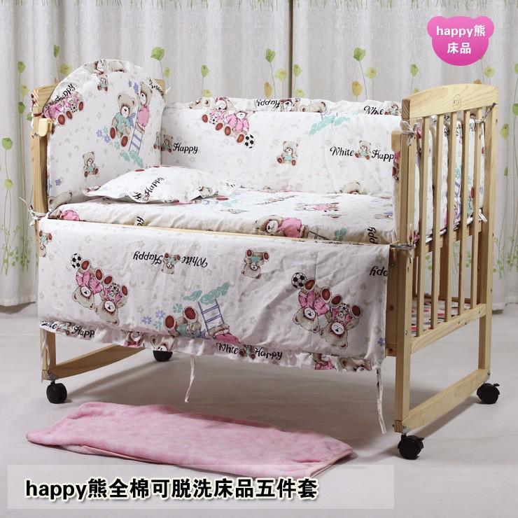Promotion! 7pcs baby bedding sets Applique Embroidery baby crib bedding sets  (bumper+duvet+matress+pillow)<br><br>Aliexpress