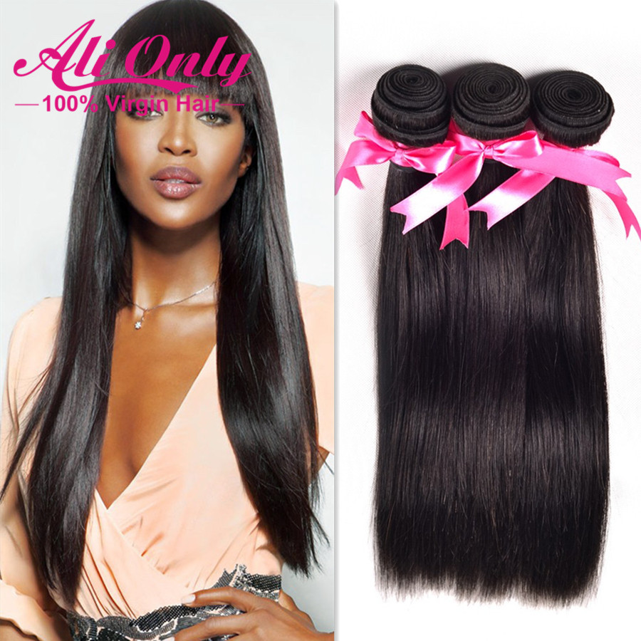Brazilian Straight Hair Style 3 Bundle Deals Straight Brazilian Hair Weave Bundles Soft Alionly Straight Human Hair Extensions(China (Mainland))