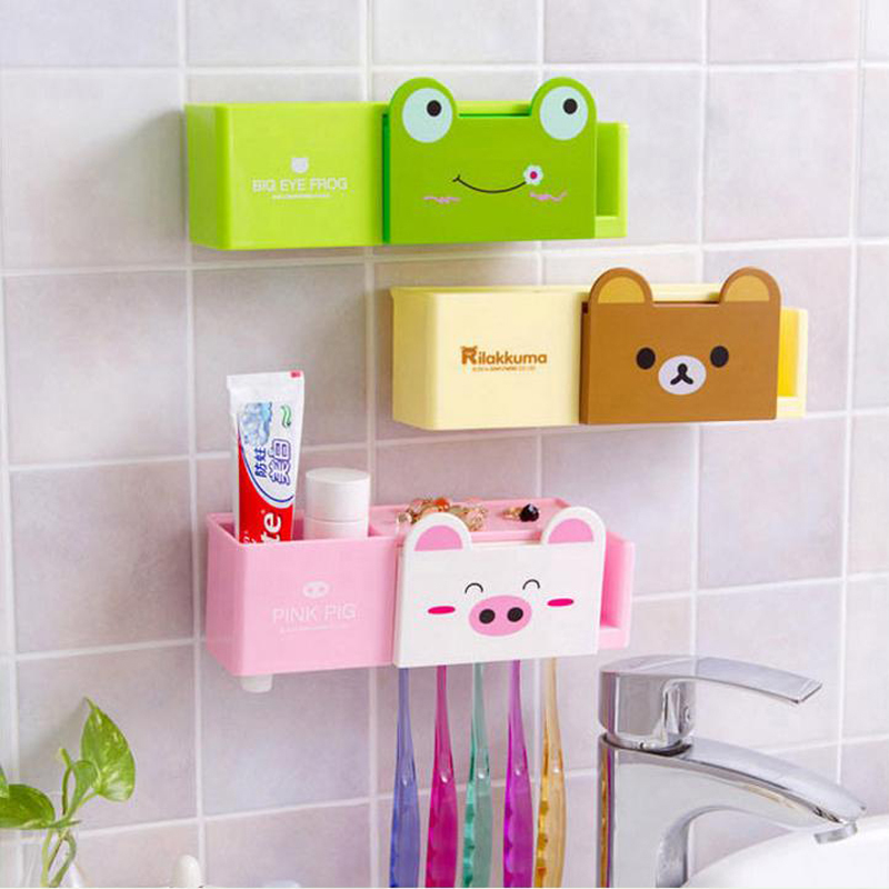 Cartoon Minions Toothbrush Holder Bathroom Set Accessories Cute Animals Sucker Tooth Brush