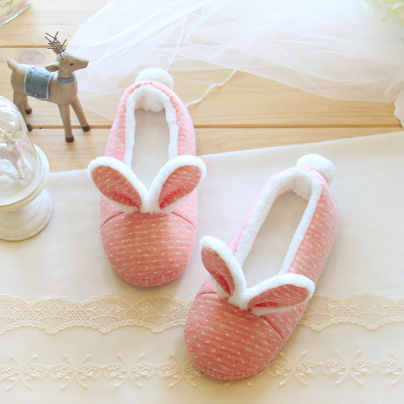Sweet Lolita pinky bunny winter home slippers rabbit ear shoes woman indoor casual - Renee wang store