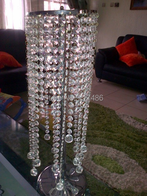 sliver wedding table flower stand center pieces with the acrylice bead strands including the beaddrop(China (Mainland))