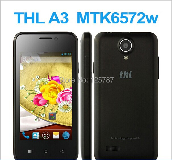 THL A3 3.5 Inch MTK6572 Dual Core Android 4.2 Touch Screen 256MB/512MB Dual Camera Dual Sim 3G GPS Bluetooth Mobile Phone(China (Mainland))