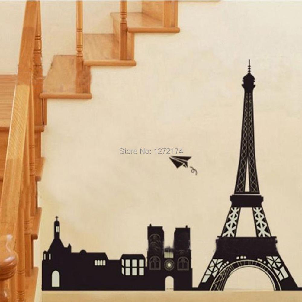 Buy 1pcs I Love Paris Eiffel Tower Buildings Black Wall Stickers Diy
