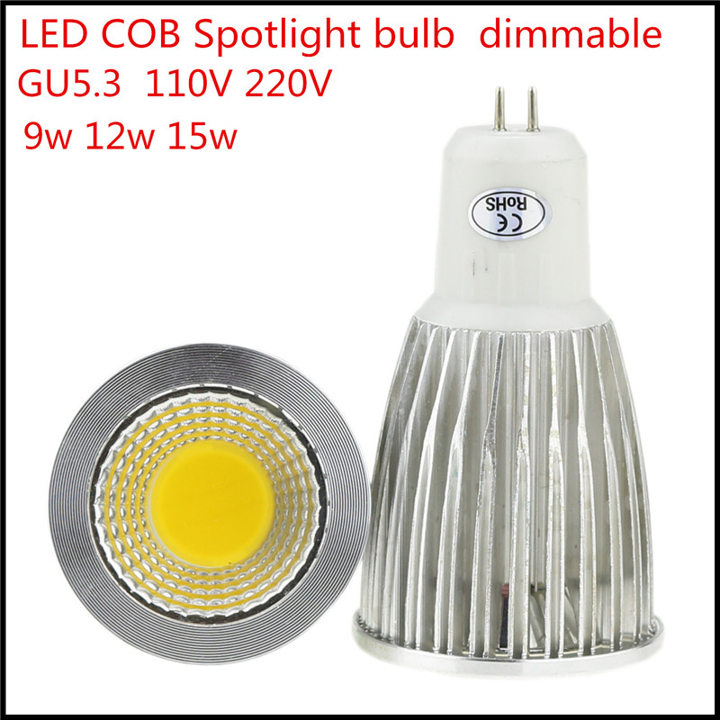 1X Retail lampada led 9W 12W 15W led lamp GU5.3 dimmable led bulbs AC110V 220V led spot light Warm/Cool white(China (Mainland))