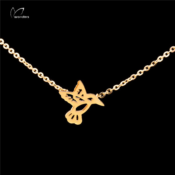 30pcs/lot 2015 Minimalist Jewelry Stainless Steel Gold Silver Dainty Tiny Hummingbird Charm Necklace for Women<br><br>Aliexpress