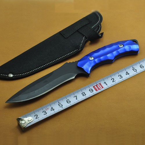 Buy Mini Blue Outdoor Camping Survive Fixed Blade Knives Stainless Steel Tactical Pocket Knife + Nylon Sheath cheap
