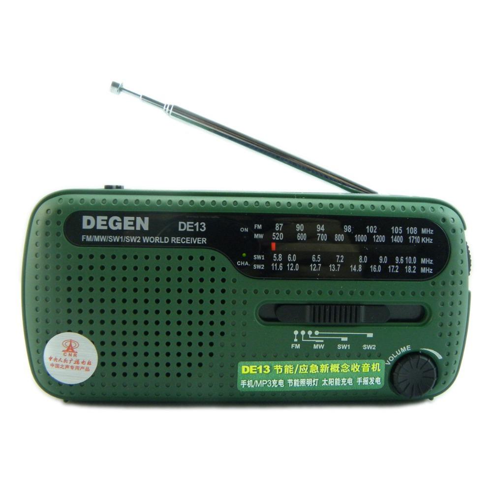 DEGEN DE13 FM MW SW Receptor Crank Dynamo Solar Emergency Radio World Receiver A0798A(China (Mainland))