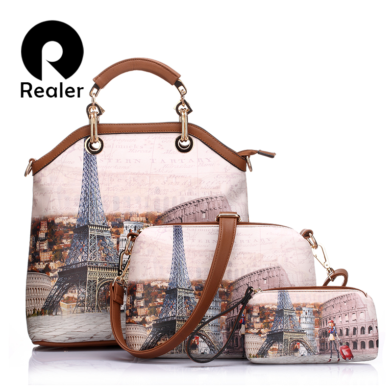 REALER brand 3 pcs printed handbag women large tote bag artificial leather shoulder messenger bags female small coin purse(China (Mainland))