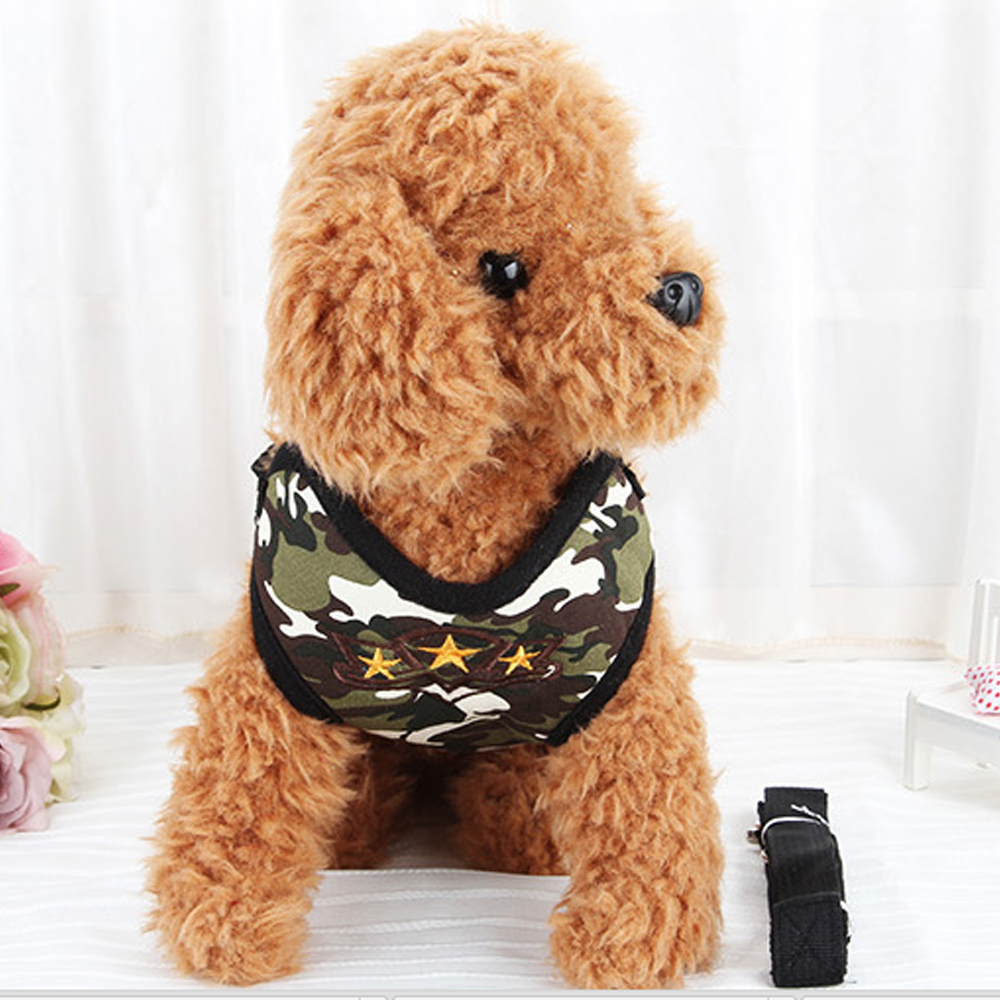 2016 New Fashion Pet Shop Dogs Accessories Products for Dog Fabric Cute Harness Camouflage Harness and Leash Set for Small Dogs(China (Mainland))