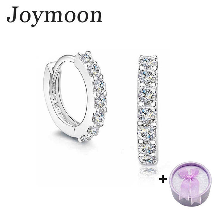 925 Sterling Silver Earrings for Women Earings Brincos CZ Diamond Hoop Pendientes Wedding Joymoon Brand Two Gifts Jewelry G0408(China (Mainland))