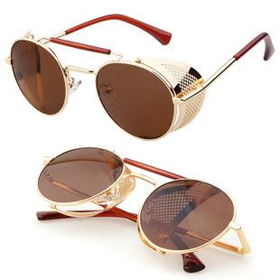 Мужчины приток металл отражающий солнечные очки унисекс стимпанк солнечные очки ретро очки солнечные очки