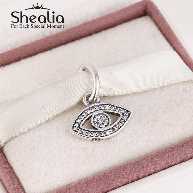 2015 новый стерлингового серебра 925 глаз мотаться прелести проложить игристое циркон подвески для женщин браслеты сделай сам ювелирное SH0549