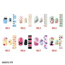 Colorful beautiful lovely cat and flower pattern nail wraps sticker-full self adhesive polish sticker & decals MJ0172