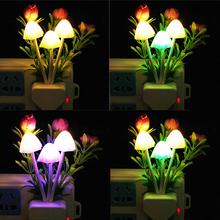 Romantic Creative Mushroom Rose Colorful Light Sensor Sensitive Night Light Lamp Dreambed Decoration(China (Mainland))