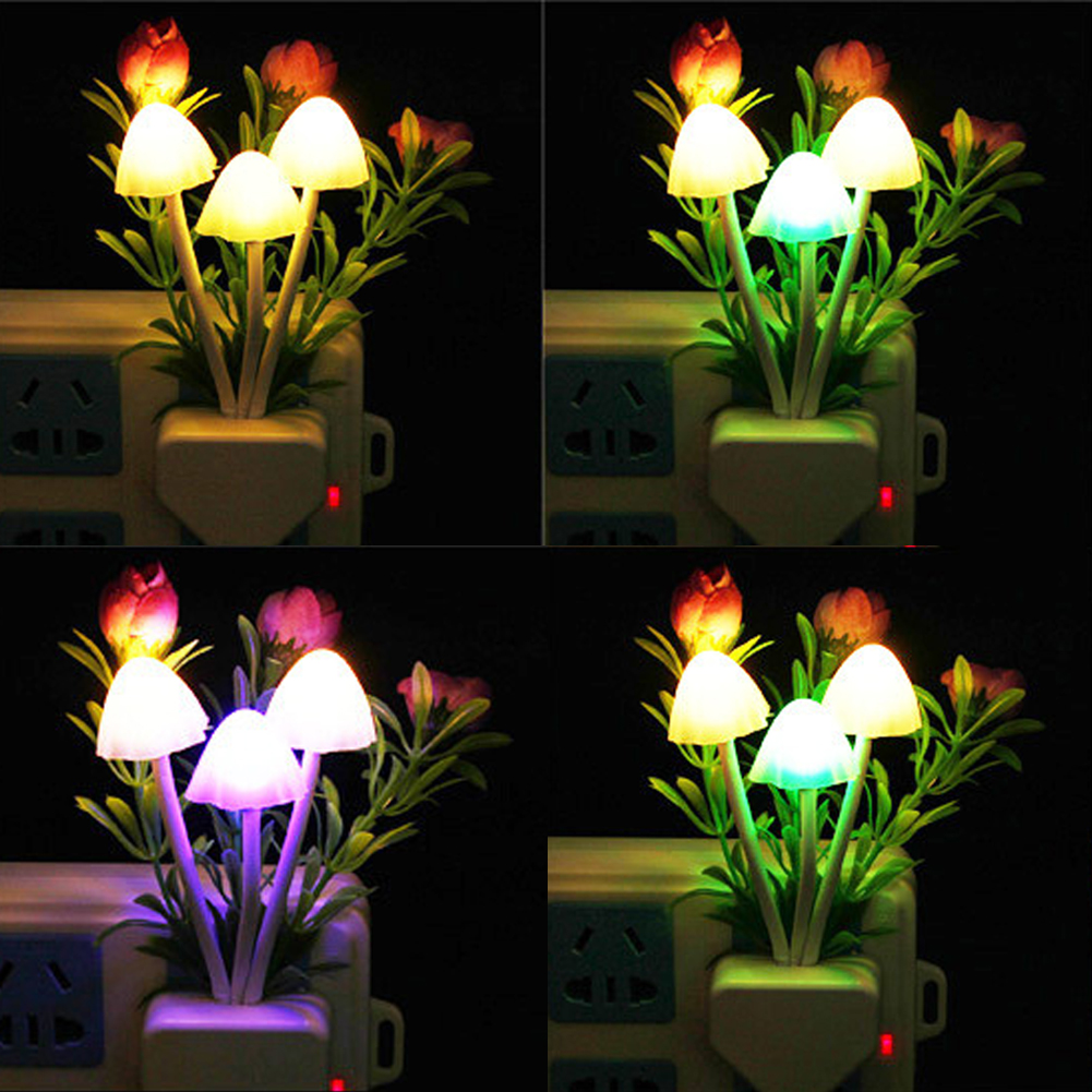 Romantic Creative Mushroom Rose Colorful Light Sensor Sensitive Night Light Lamp Dreambed Decoration(China (Mainland))