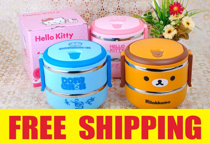 2 Layer Cartoon Portable Stainless Steel Food Storage Box Kids Thermal Insulated Food Container Bento Lunch Box Tableware(China (Mainland))