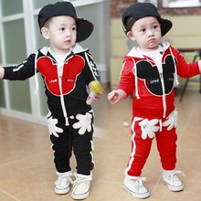 new 2015 children's wear cartoon zipper two-piece suit hooded + trousers Sport suit clothing set children clothing  2 ~ 6 years(China (Mainland))