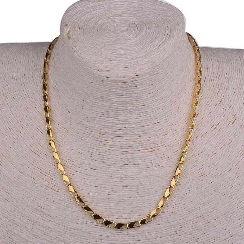 2015 Fashion Customized Gold Filled Mens Long Chain Necklaces Womens Unisex Cut Flat Curb Cuban Link 18K Wholesale Necklace(China (Mainland))