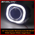 Car Styling Automobiles Metal 3 0 Pro Square Angel Eyes Halo HID Bi xenon Lens Headlight