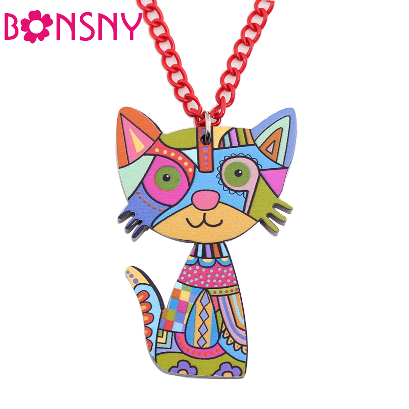Bonsny Acrylic Cat Necklace Pendant Chain Collar Choker Pendant Animal Fashion Jewelry For Women Girs 2016 News Accessories(China (Mainland))