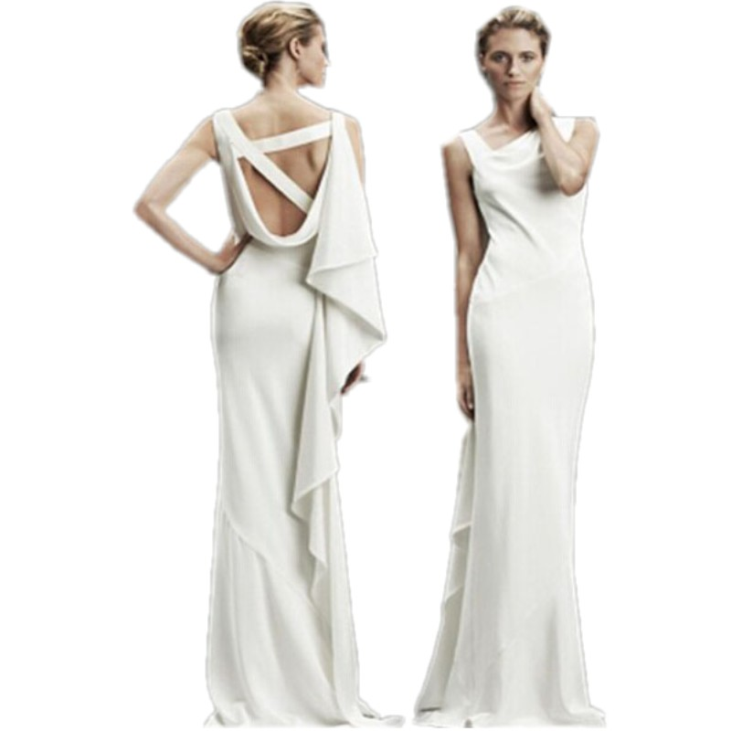 Long white backless dress 2016 hot sexy asymmetric design ruched fashion white bohemian long dress summer women's clothing 60320(China (Mainland))