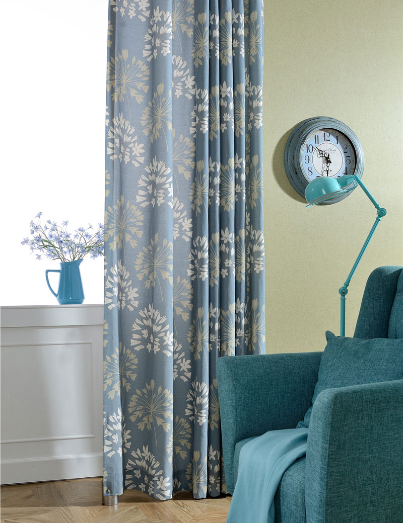 American rustic style blue curtains room divider floral - Kitchen door curtains ...