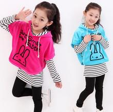Girl 3PCS SET 1pc Batwing Sleeve coat+1pc shirts+1pc pants Children's Clothing set Girls Clothes suits(China (Mainland))