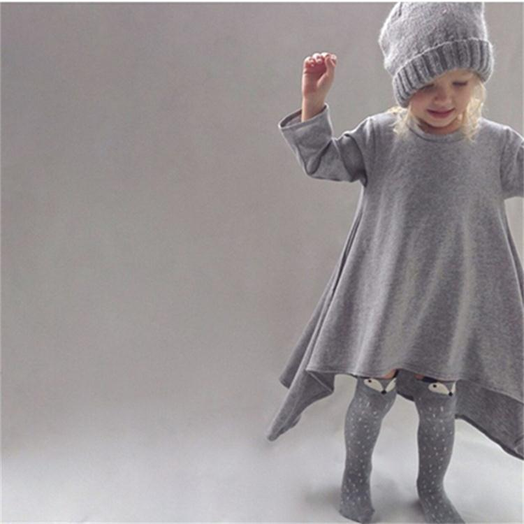 New autumn girls dresses cotton kids children warm clothes long sleeve baby clothing girls irregular dress ceremonies vestido(China (Mainland))