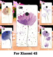 Protective Skin Shell Housing Cell Phone Bags Watercolor Pattern Floral Flowers Hard Fundas For Xiaomi 4S 5.0 inch Case Cover