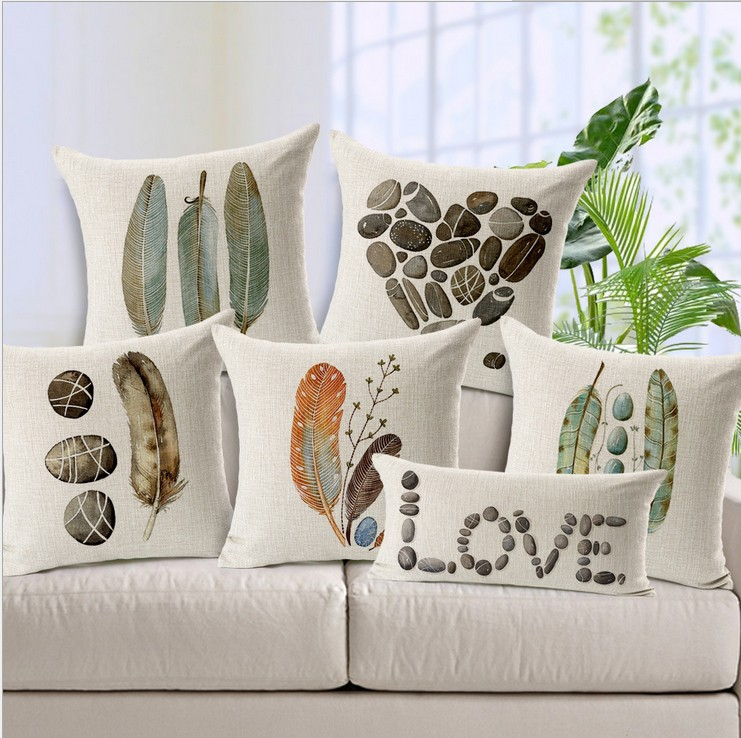 cushion cover/ feather stone Ikea throw pillow covers decorative sofa cushion/almofada cover pillowcases,Giraffes/ rhinos/deer(China (Mainland))