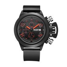 Real MEGIR marca calendario cinturón de silicona resistente al agua hombres relojes Analog cronógrafo de cuarzo reloj del reloj Relogio Masculino