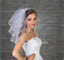 2015 Short Wedding Veils Three Layer With Ribbon Edge With Free Comb White Bridal Veils Wedding Accessories(China (Mainland))