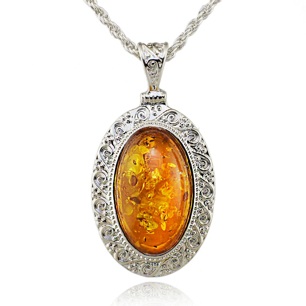 Silver Oval Baltic Faux Amber Honey Carved Exquisite Tibet ...