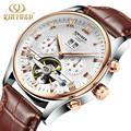 Kinyued luxury brand sport fashion business clokc Skeleton Automatic Tourbillon Mechanical mens Watches Rose Gold Wrist